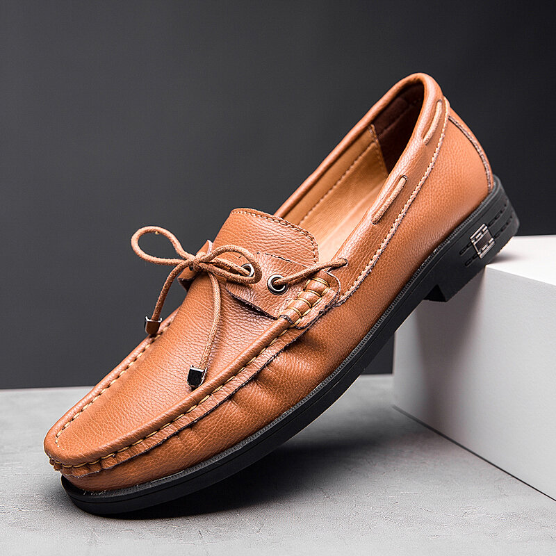 Men Pure Color Cow Leather Non Slip Casual Boat Shoes