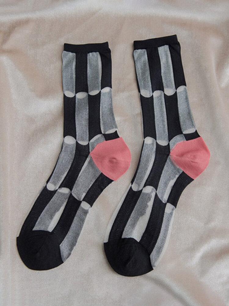 Women Summer Thin Elastic Transparent Short Contrast Grid Middle Tube Socks