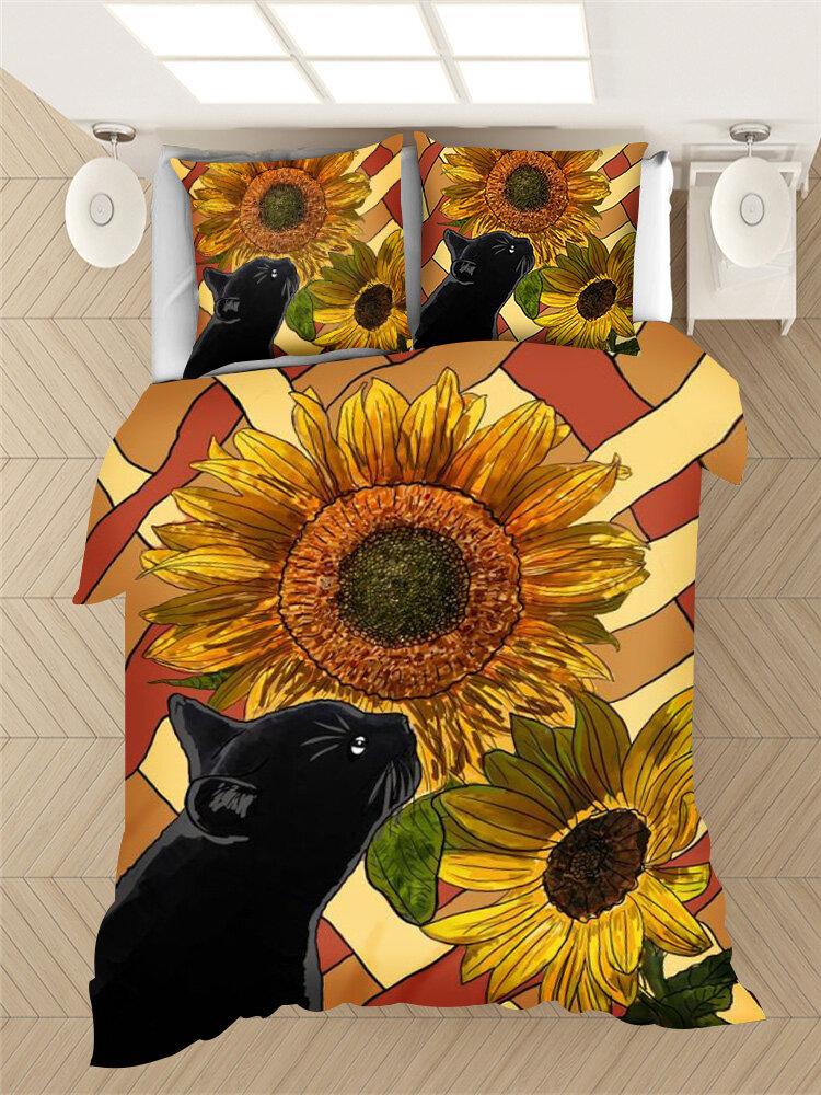2/3Pcs Black Cat And Sunflower Pattern Comfy Bedding Duvet Cover Set Pillowcase Adults Bed Duvet Set Twin King