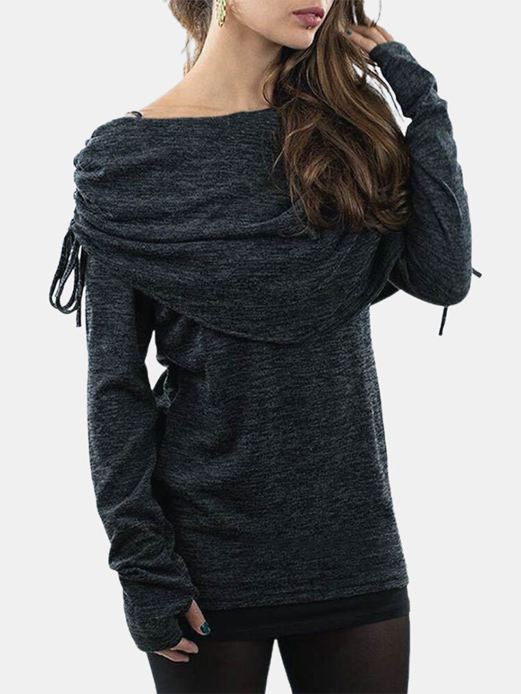 Solid Color Long Sleeve Drawstring T-shirt For Women