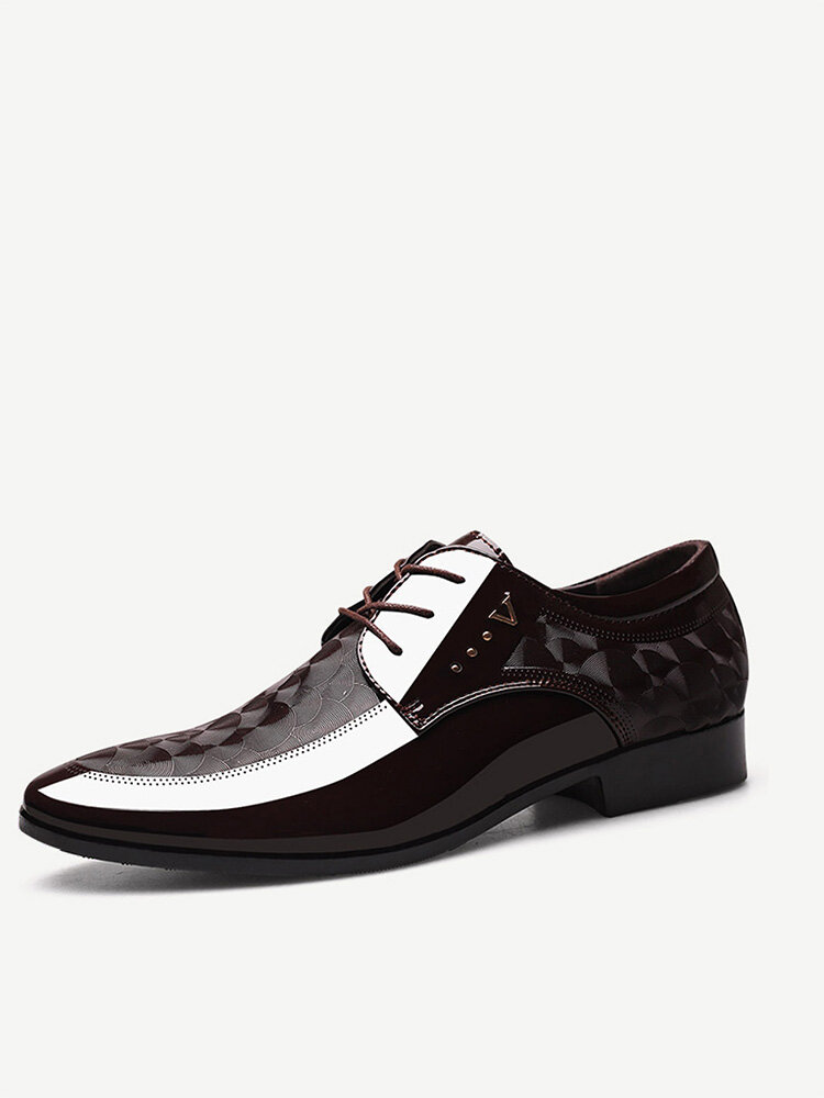 Men PU Leather Non Slip Business Casual Formal Shoes