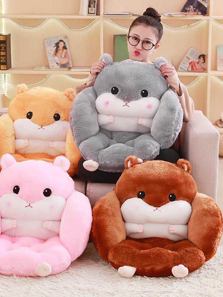 Coussin de siège de hamster de bande dessinée oreiller Kawaii en peluche bureau à domicile taille oreiller chaise coussin