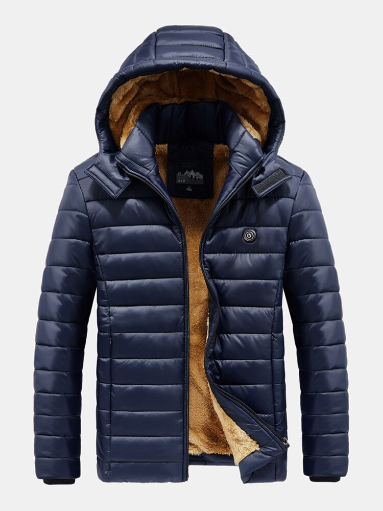 Mens Quilted Plush Lined Warm Cotton Padded Hooded Puffer Jacket With Pocket