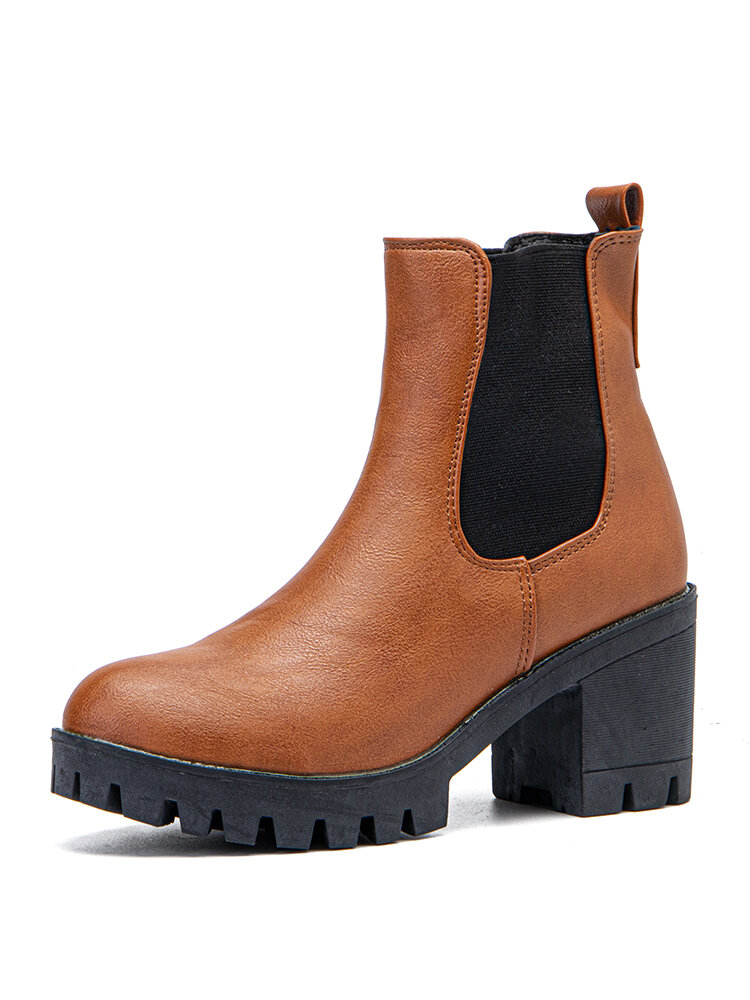 Women Casual Slip On Platform Chunky Heel Ankle Boots