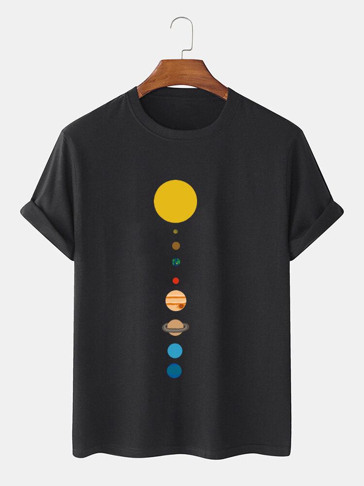 Mens 100% Cotton Cartoon Planet Print Solid Thin Loose O-Neck T-Shirt