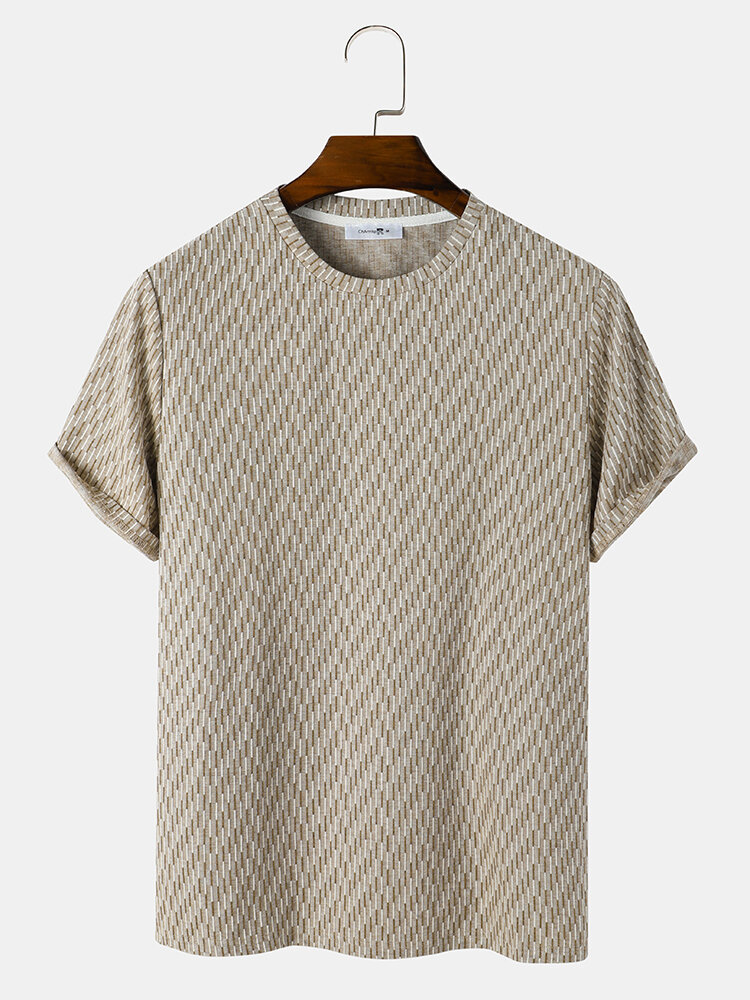 Mens Striped Texture Crew Neck Casual Short Sleeve T-Shirts