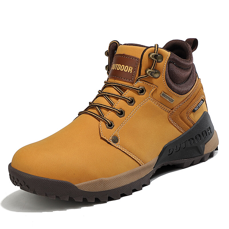 Men Outdoor Non Slip Comfy Lace-up Casual Hiking Ankle Boots