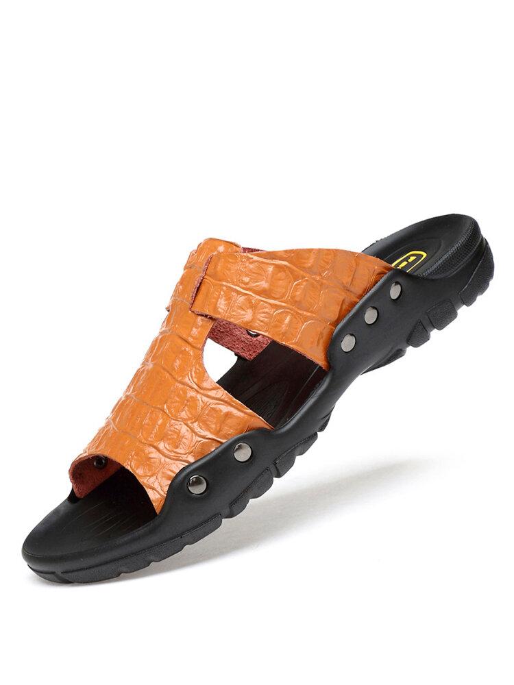 Talla grande Hombre Piel Antideslizante Sandalias Casual Playa zapatillas