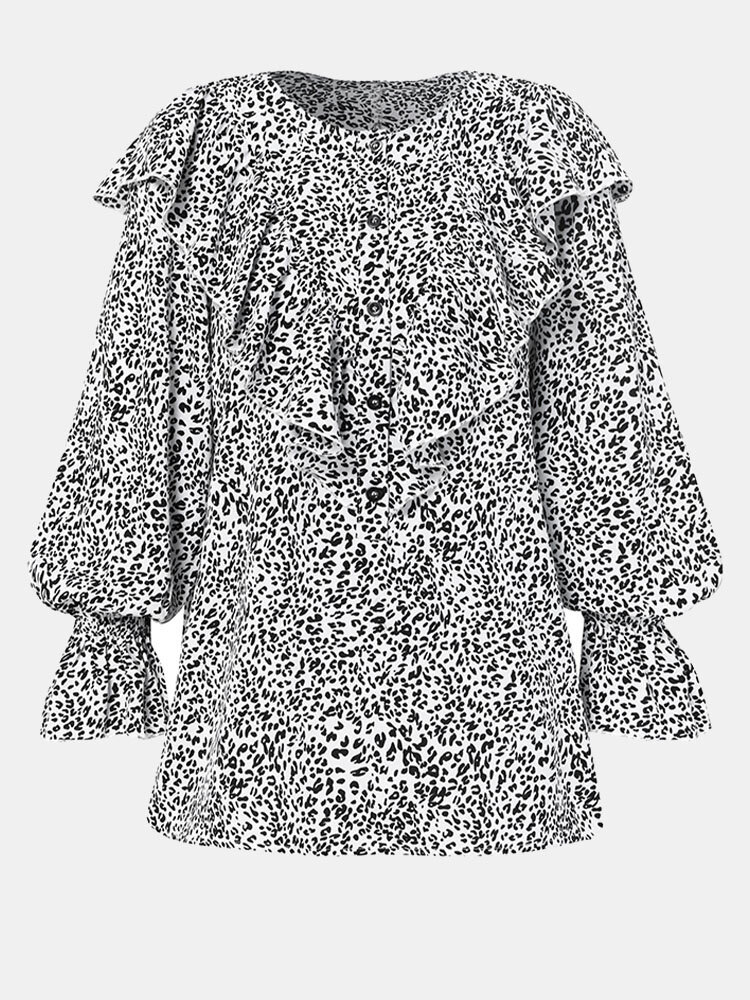 Leopard Print Patch Ruffle O-neck Button Long Sleeve Blouse
