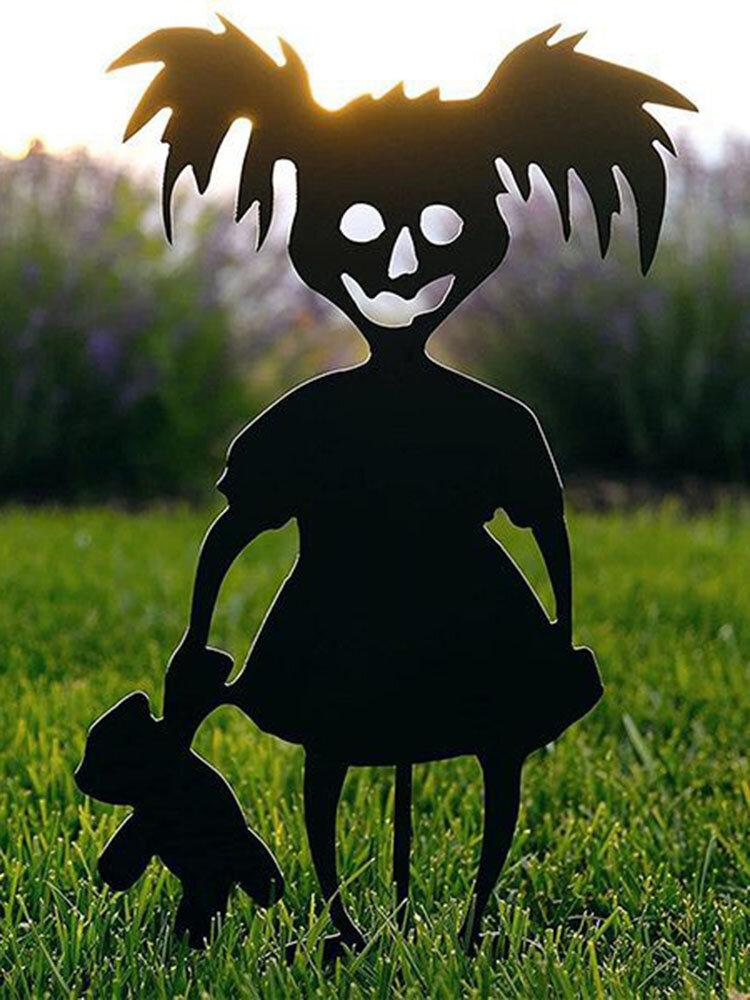 1 PC Little Devil Garden Metal Scare Children Silhouette Decoration Chainsaw Girl Boy Grass Fence Yard Decoration