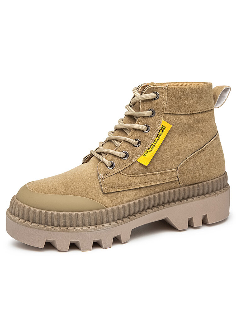 Men Stylish Cool Comfy Wide Fit Round Toe Casual Platform Tooling Boots