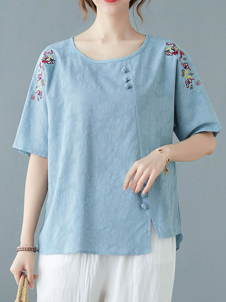 Floral Embroidery Dish O-neck Half Sleeve Loose Women Vintage T-shirt