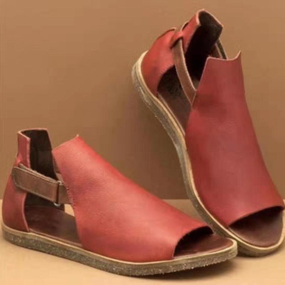 Women Minimalist Fish Mouth Hook Loop Rome Flat Sandals