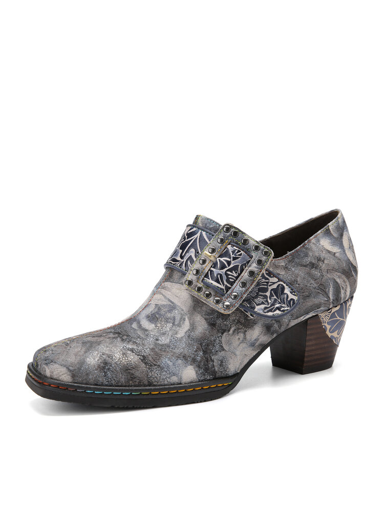 Socofy Women Retro Leather Floral Print Square Toe Metal Buckle Soft Comfy Side Zipper Chunky Heel Pumps