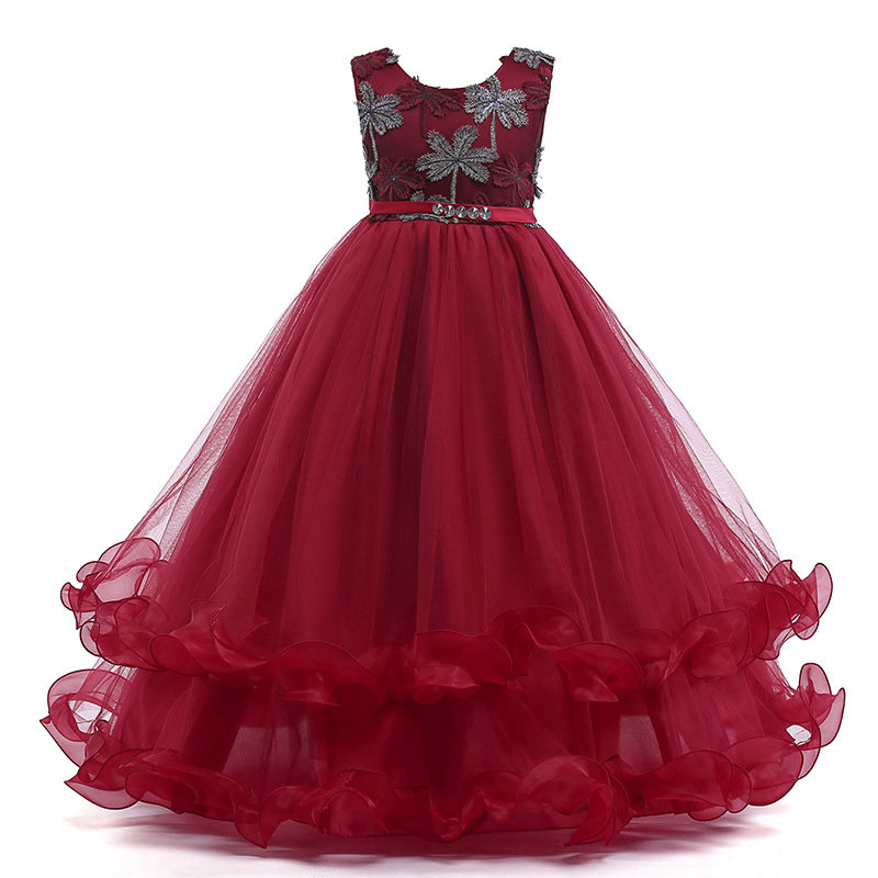 Floral Embroidery Girls Kids Patchwork Fancy Princess Dress For 4Y-15Y