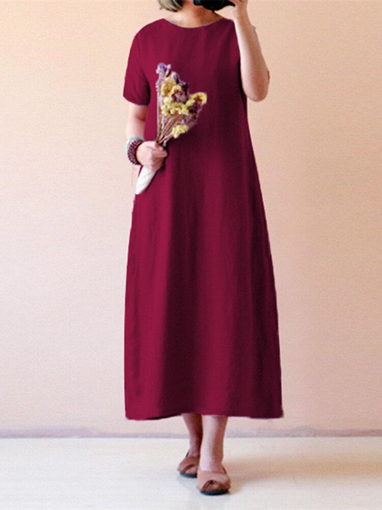 Vestido maxi vintage monocolor