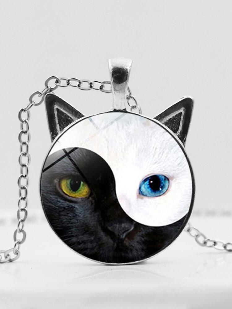 Vintage Yin Yang Cat Face Printed Women Necklace Cat Ear Pendant Necklace