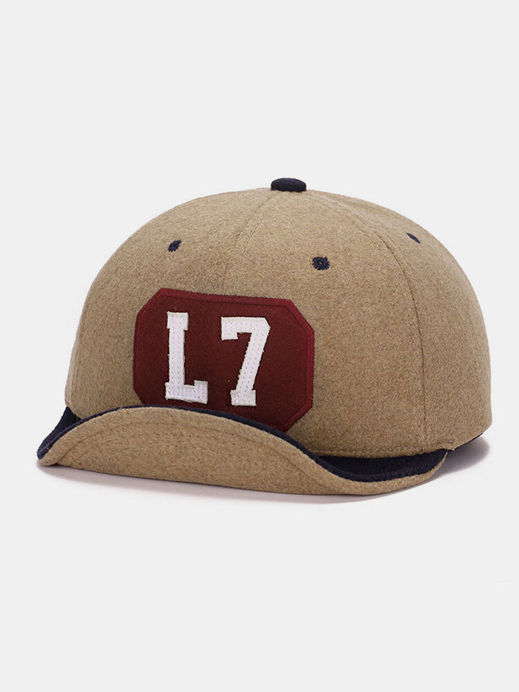 Men & Women Autumn And Winter Flanking Woolen Color Matching Baseball Cap