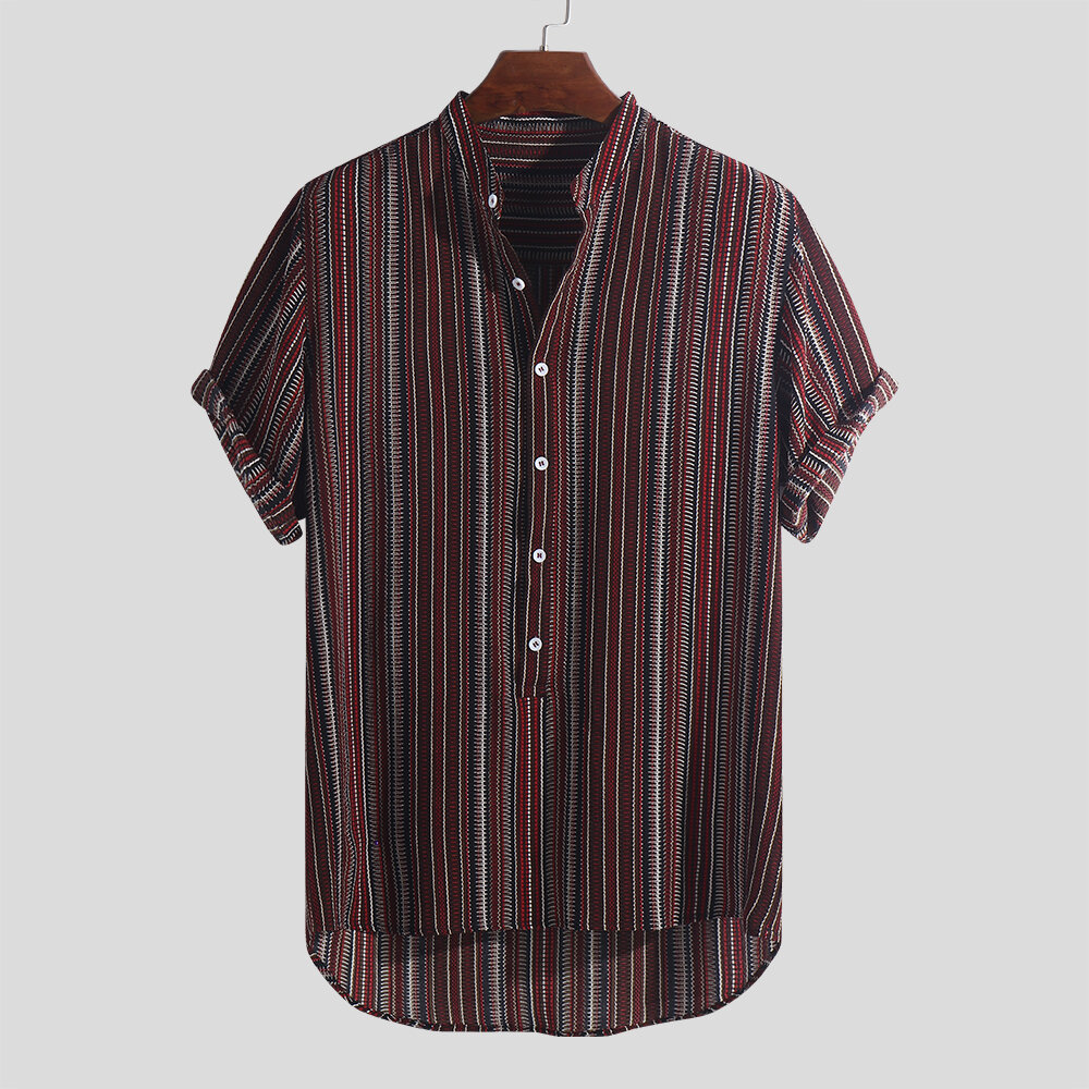 89beacc43 ChArmkpR Mens Ethnic Style Printed Stripe Stand Collar Short Sleeve Loose  Henley Shirts Best Online - NewChic
