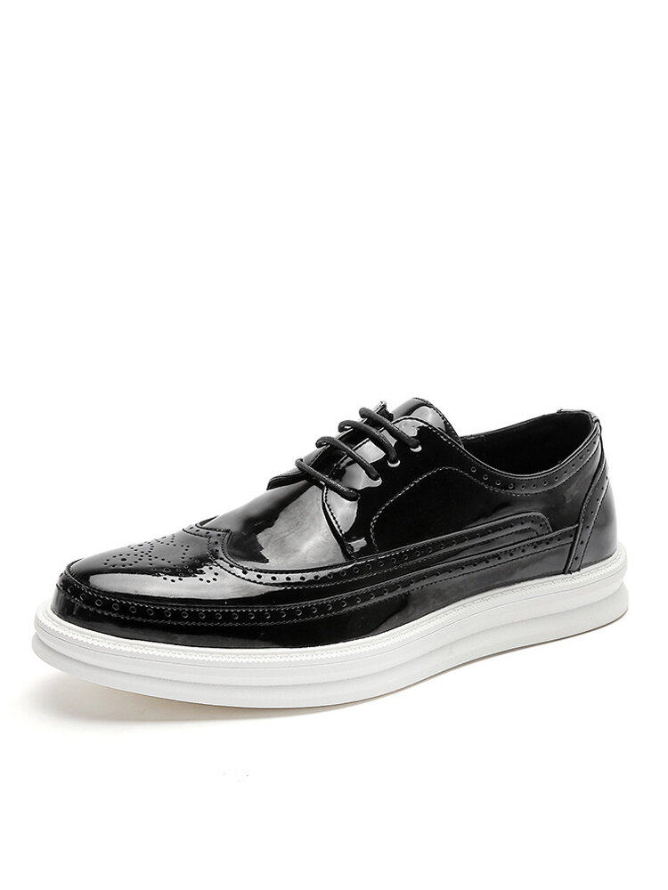 Men Lace-up Breathable Hard Wearing Thick Bottom Loafers Shoes
