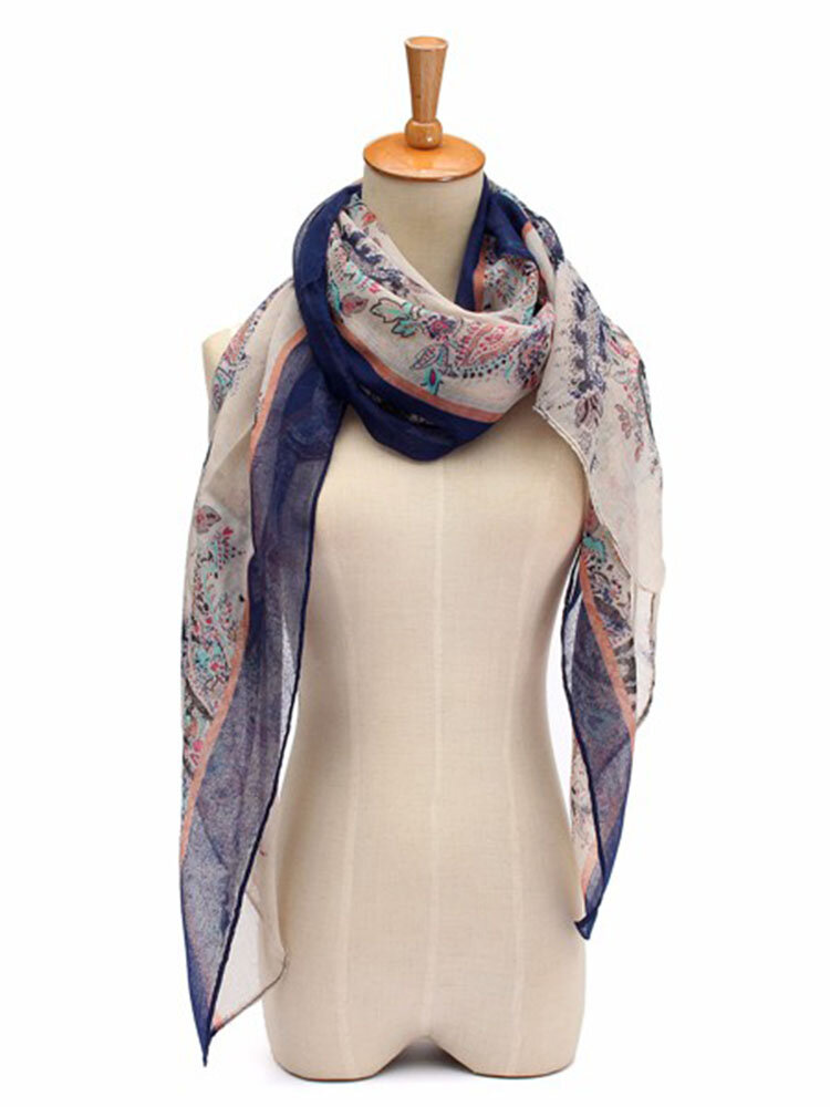 Women Lady Flowers Voile Soft Long Shawl Scarf Wraps Stole Neck