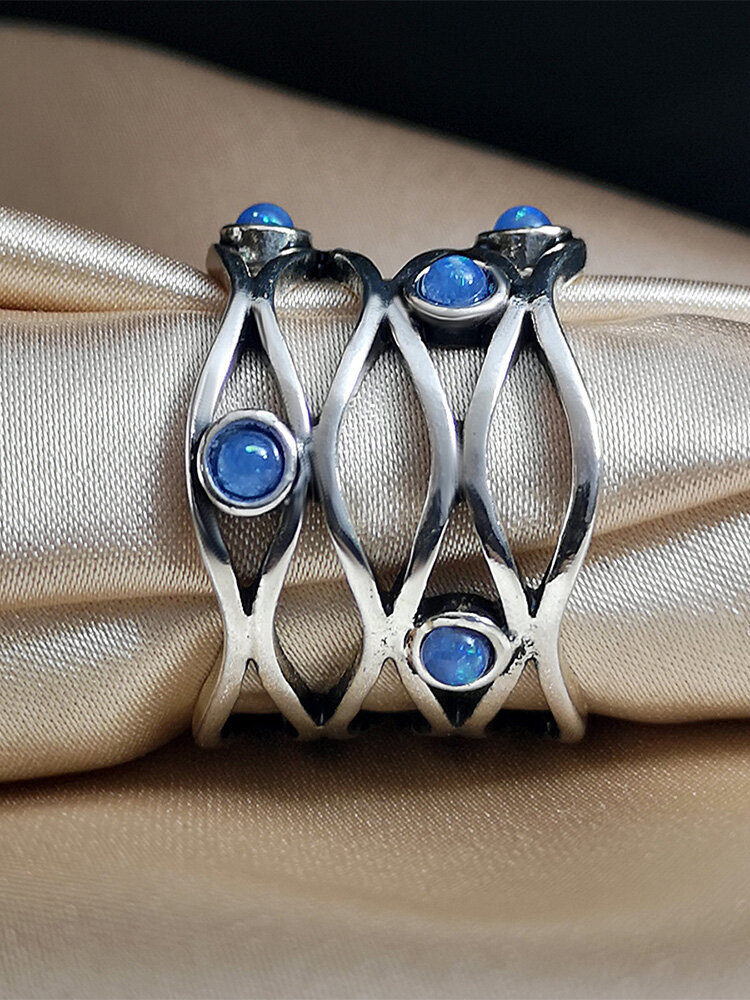 Vintage Trendy Interwoven Hollow Scarf Buckle Blue Opal S925 Alloy Rings