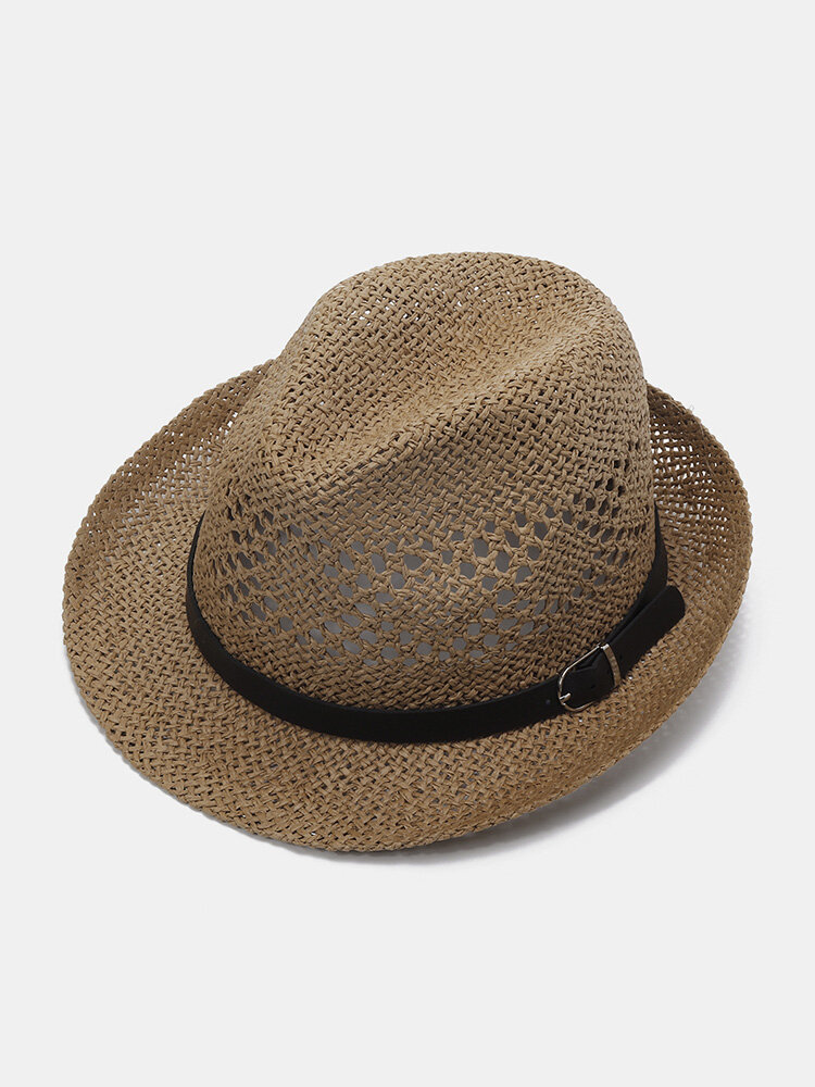 Men's Flat Brim Straw Solid Hollow Breathable Classic Vintage Jazz Hat Travel Sun Cap