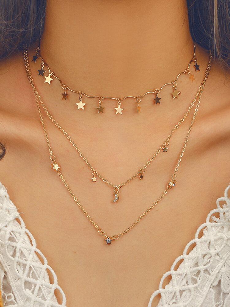 Bohemian Star Tassels Necklace Moon Rhinestone Pendant Multi-layer Alloy Necklace For Women