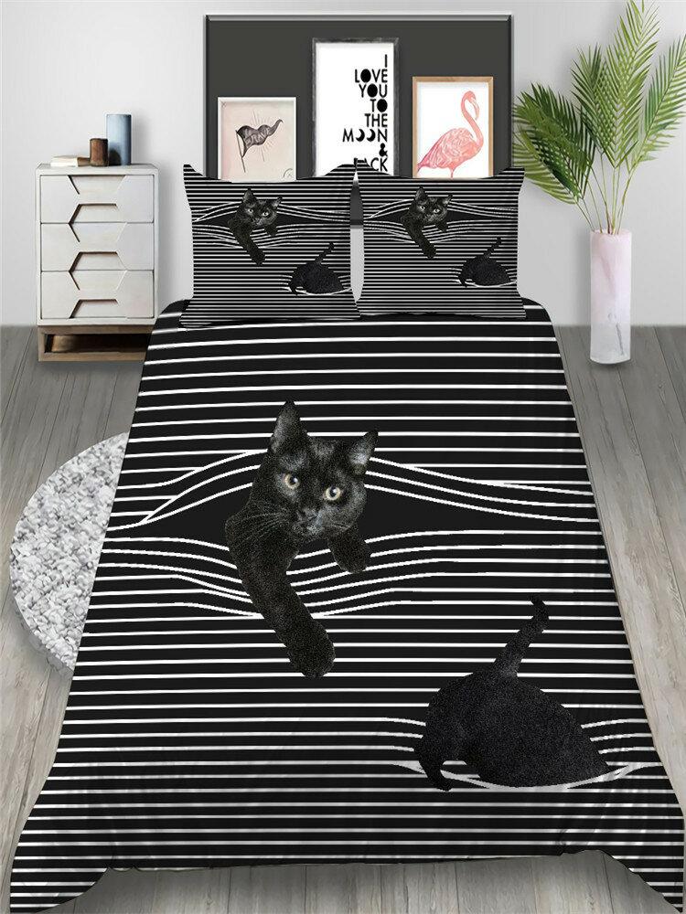 2/3Pcs Classic Style Stripe Cat Pattern Duvet Cover Set Pillowcase Adults Bed Duvet Set Twin King