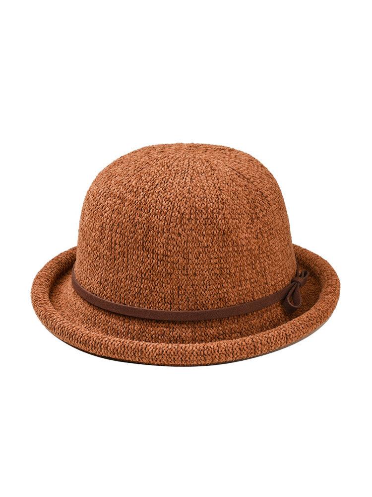 Cappello da pescatore a forma di fiocco semplice da donna Cappellino in ciniglia elegante e selvaggio Cappello regolabile confortevole