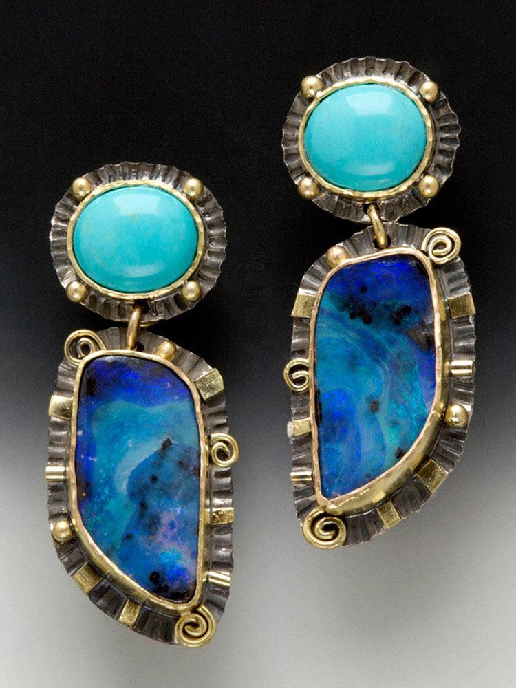 Vintage Water Drop Shape Women Earrings Symmetry Turquoise Pendant Earrings
