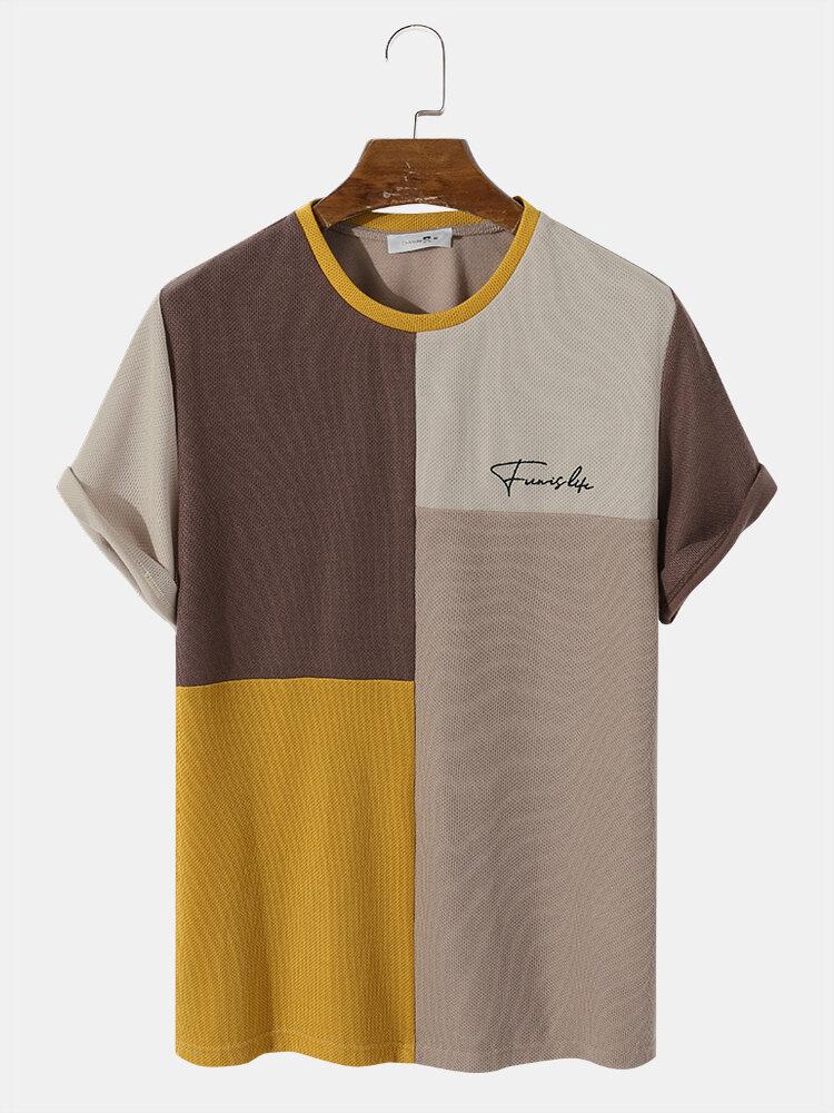 メンズカラーブロックステッチレター刺繡ニット半袖プレッピーTシャツ