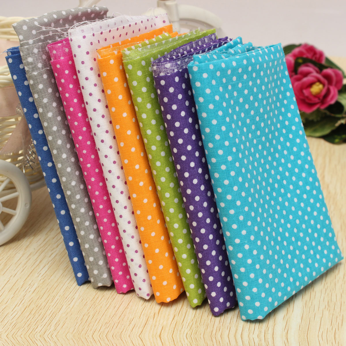 8Pcs 50*50cm Colorful Wave Point Color Cloth Decorative Comfortable Cotton Fabric For Sewing Crafts
