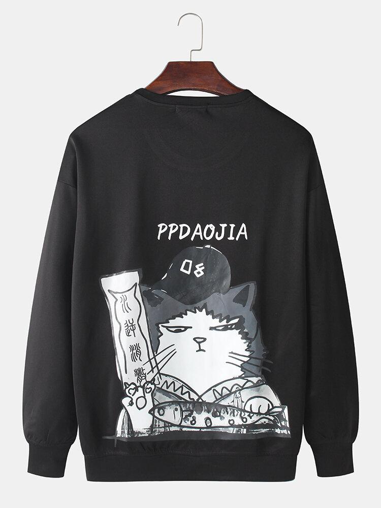 Mens Solid Color Cartoon Cat Back Print Loose Crew Neck Sweatshirts