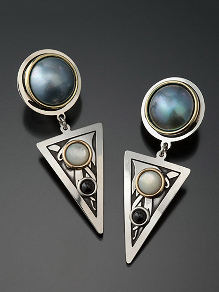 Vintage Triangle Women Earrings Inlaid Pearl Shell Moonstone Pendant Earrings Jewelry Gift
