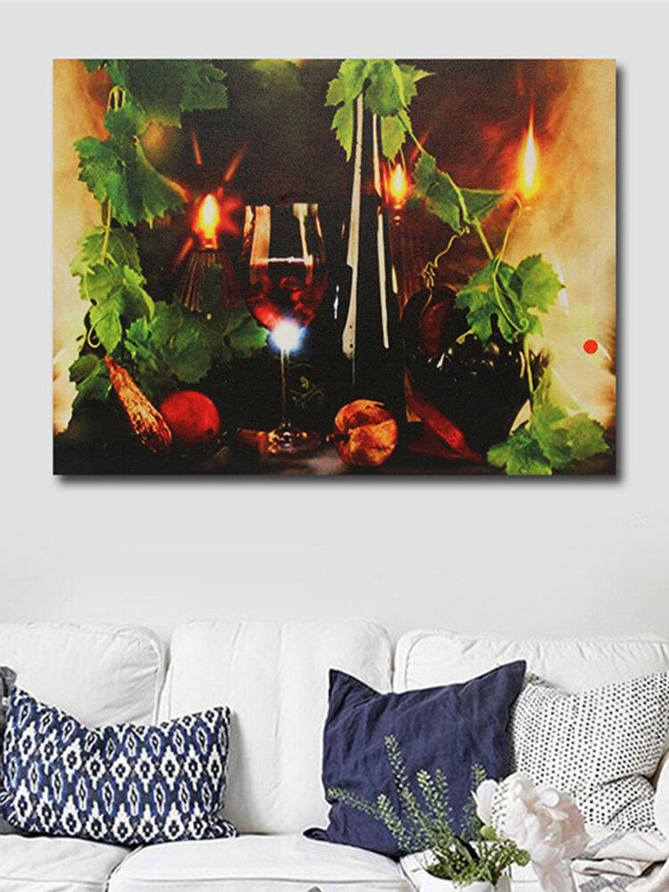 Creative Wine LED Light Painting Wall Art Living Room Home Decor