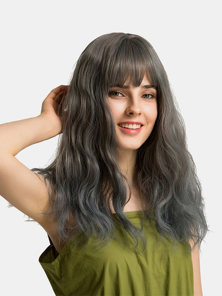 20 inch Natural Wavy Wigs Long Synthetic Hair Wig Gradient Mixed Colors Neat Bangs Wigs