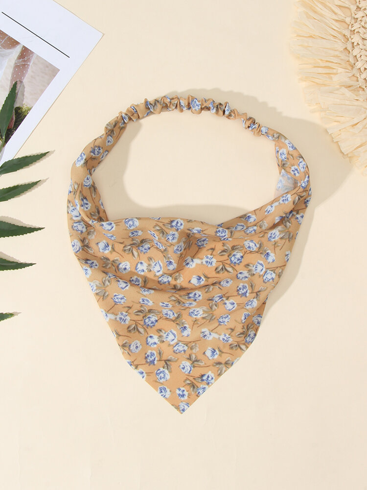Women Country Style Floral Rose Pattern Elastic Triangle Wrap Headscarf Headband