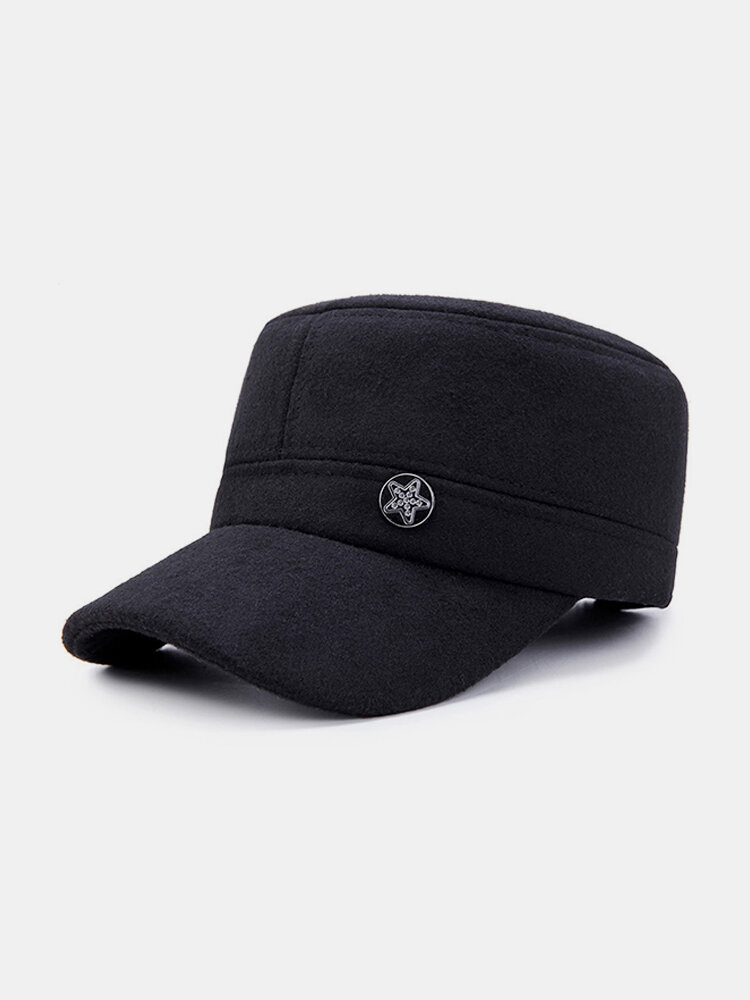 Men Adjustable Warm Ear Windproof Thick Wild Cotton Flat Cap Simple Style Outdoor Home Travel Hat
