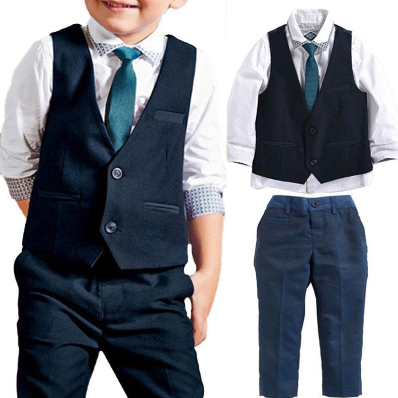 4Pcs Boys Formal Sets Shirt + Tie + Vest Coat + Long Pants For 1Y-9Y