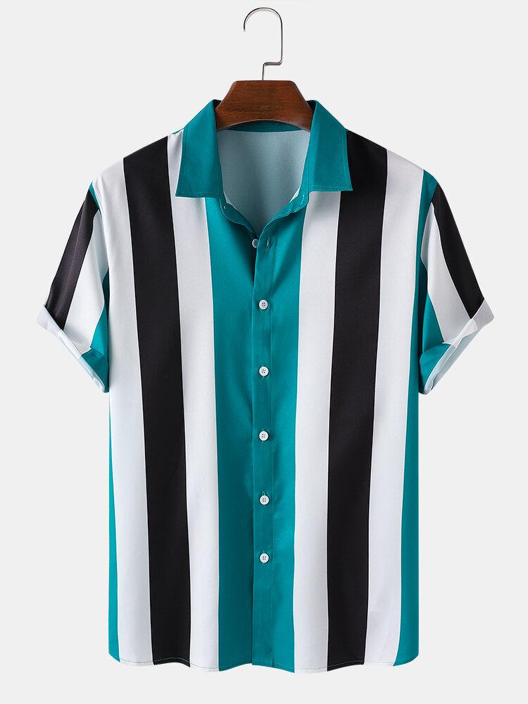 メンズストライプビーチカジュアルターンダウンカラーシャツ
