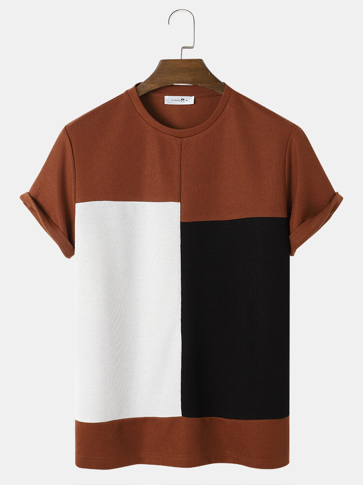 Mens Color Block Panel Stitching Knitted Preppy Short Sleeve T-Shirts