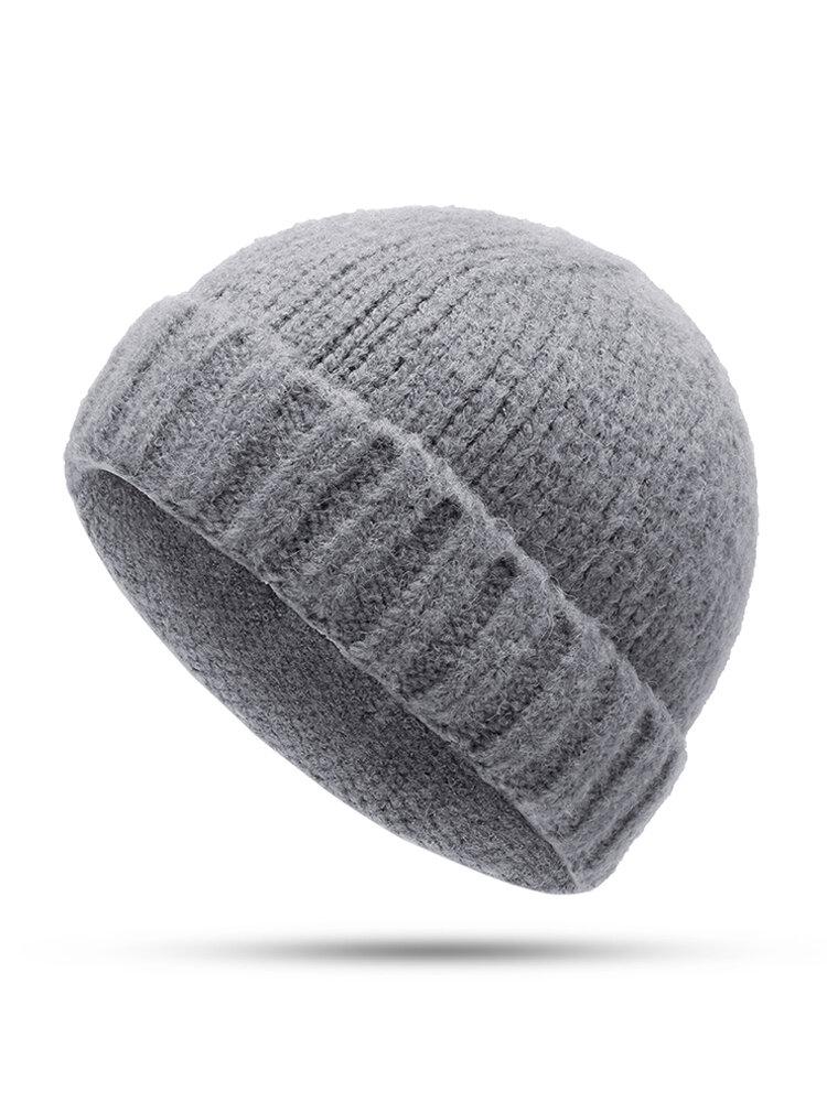 Men Women Vogue Wool Knit Brimless Cap Skull Cap Wild Warm Rolled Cap Without Brim