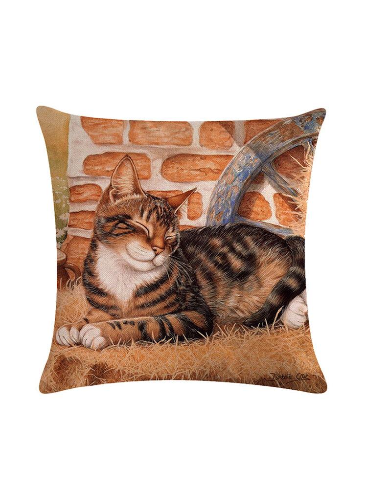 Capa de almofada de linho para impressão de gato bonito Colorful Gatos Padrão Travesseiro decorativo Caso para fronha de sofá