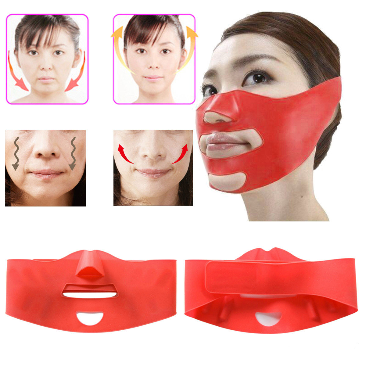 3D Silicone Face-Lifting Ceinture Anti-Rides Anti-Age Sleeping Belt Masque V-Face