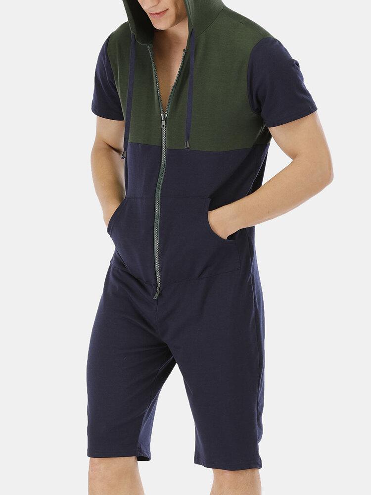 メンズパッチワーク半袖パジャマフード付きカジュアルジャンプスーツ