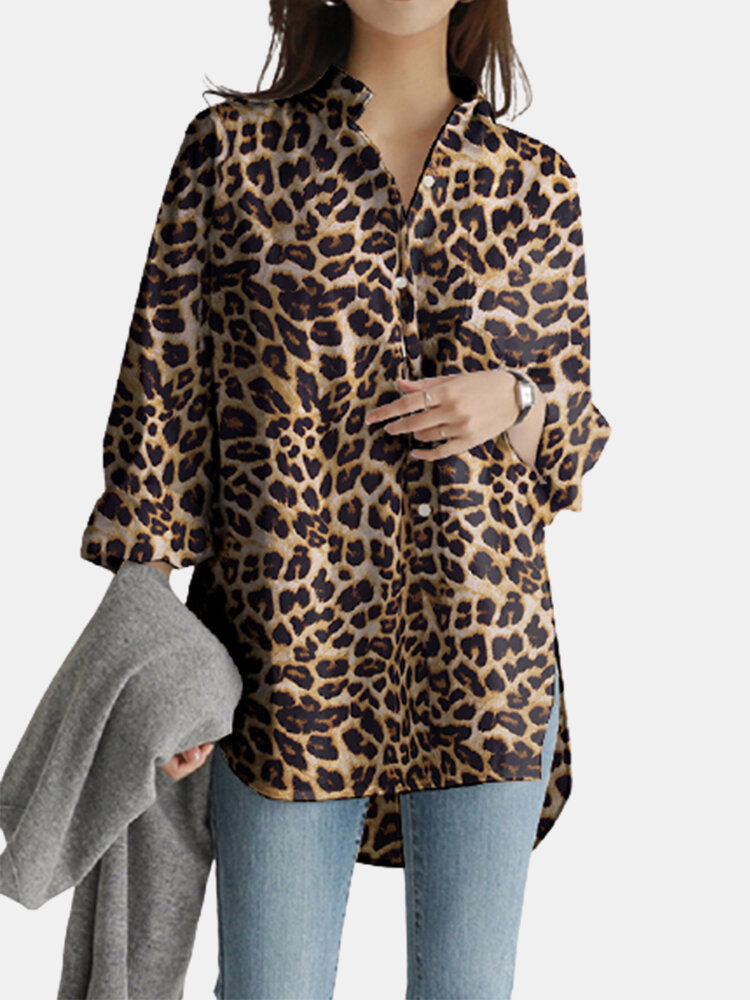Leopard Printed Long Sleeve Stand Collar Asymmetrical Blouse For Women