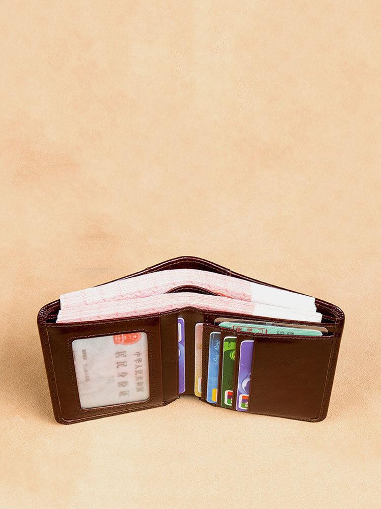 Ferricos RFID Portefeuille trois Volets Cuir Véritable avec Capacité Large pour Homme