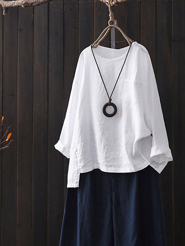 Solid Color Long Sleeve High Low Vintage Plus Size Blouse