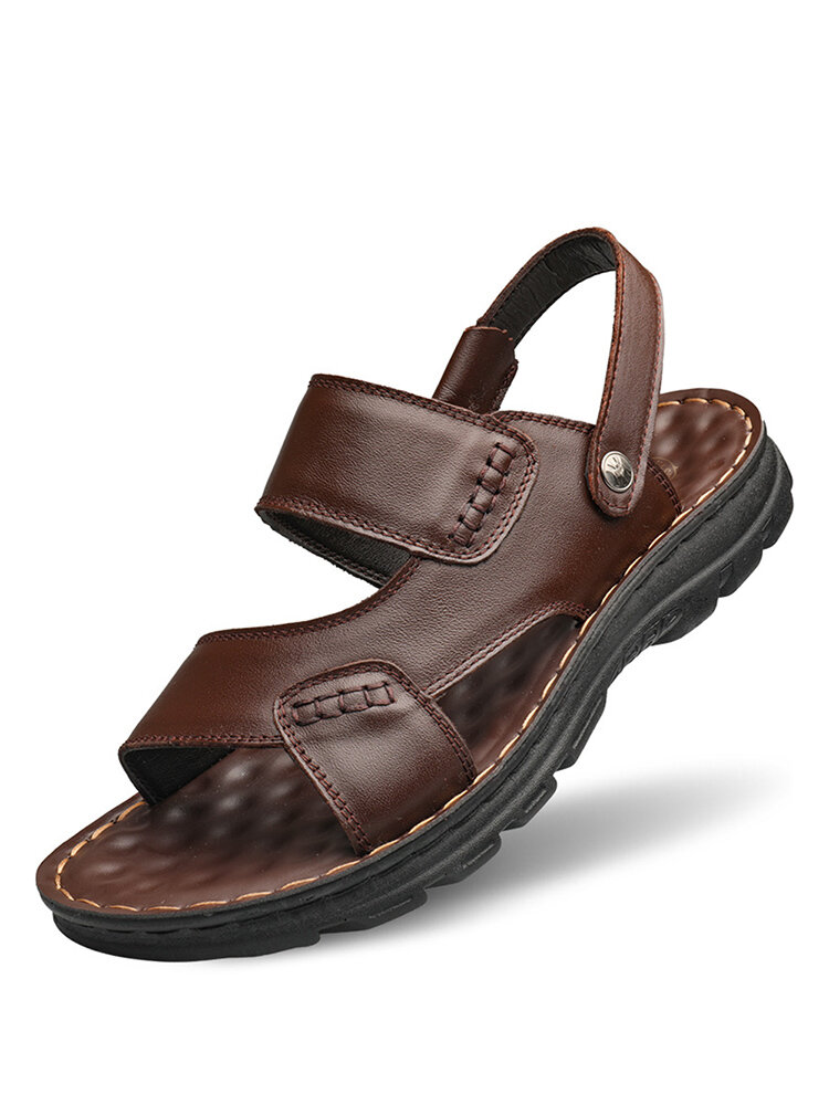 Men Comfy Soft Sole Slip On Beach Leather Sandals